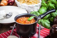 Mediterranean meal preparation. - stock photo