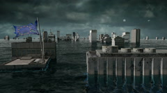 Apocalyptic water view. urban flood, Europe flag. Storm. 3d render - stock footage