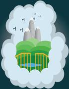 Abstract cloud illustration with silver mountains and green hills. - stock illustration