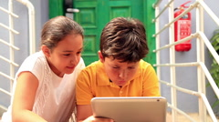 Kids with digital tablet 2 Stock Footage