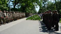 Adoption of the oath by marines, Berdyansk, Ukraine. - stock footage