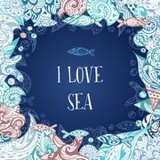 I Love Sea Vector Frame Stock Illustration