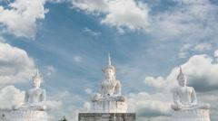 Stone statue of a Buddha lot. Stock Footage