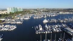 Yachts Docked in Marina Del Rey - Los Angeles, CA - Aerial Shot Stock Footage