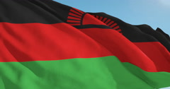 Beautiful looping flag blowing in wind: Malawi Stock Footage