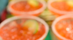 Fiesta party buffet table with watermelon margaritas and other traditional Mexic Stock Footage