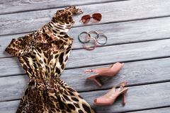 Leopard dress and heel shoes. Stock Photos