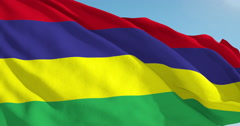 Beautiful looping flag blowing in wind: Mauritius - stock footage