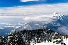 Beautifull landscape of slovenian side of the Alps, a view from mount Krvavec - stock photo