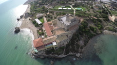 Castle Villa by the Sea - Sicily, Italy - Aerial Shot Stock Footage