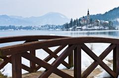 Little wooden bridge near lake Bled in slovenian alps Stock Photos