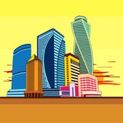 Buildings high-rise, cityscape, sunset - stock illustration