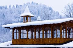 Christmas with a heavy snow and church bells near the lake Bled, slovenian alps - stock photo