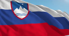 Beautiful looping flag blowing in wind: Slovenia - stock footage