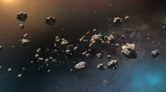 Flying Through an Asteroid field - stock footage