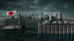 Apocalyptic water view. urban flood, Japan flag. Storm. 3d render - stock footage
