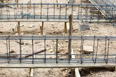 Foundation steel for home building Stock Photos