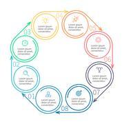 Circular infographics. Minimalistic diagram. Stock Illustration