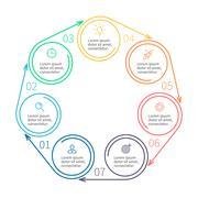 Circular infographics. Minimalistic diagram. - stock illustration