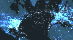 Map of Airline Traffic Flow At Night - stock footage