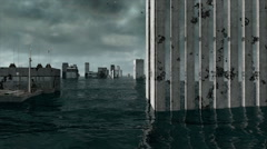 Apocalyptic water view. urban flood. Storm. 3d animation - stock footage