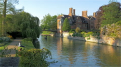The River Cam and Clare College, University of Cambridge, UK - stock footage