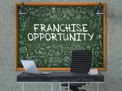 Hand Drawn Franchise Opportunity on Office Chalkboard - stock illustration