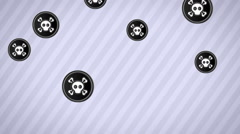Falling roger icons. Looping. Alpha channel. - stock footage