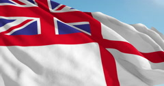 Beautiful looping flag blowing in wind: United Kingdom Naval Stock Footage