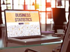 Business Statistics on Laptop in Modern Workplace Background - stock illustration