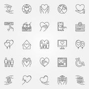 Charity thin line icons - stock illustration