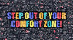 Step Out of Your Comfort Zone Concept. Multicolor on Dark Brick - stock illustration