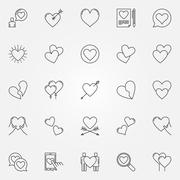 Hearts line icons set Stock Illustration
