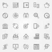 Money saving icons set - stock illustration