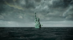 Apocalyptic water view. Old Statue of liberty in Storm. 3d animation - stock footage