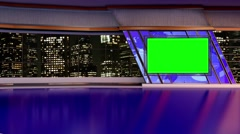 News TV Studio Set- Virtual Green Screen Background Loop - stock footage