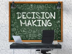 Decision Making on Chalkboard in the Office Stock Illustration