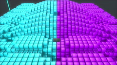 3D abstract animation of geometric square block polygon moving in wave form - stock footage