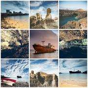 rocky coast and abandoned ships in Lanzarote - stock photo