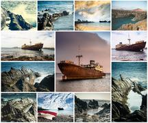 Rocky coast and abandoned ships in Lanzarote Stock Photos