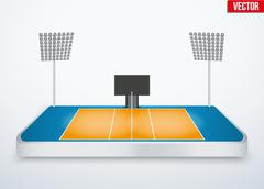 Concept of miniature tabletop volleyball arena Stock Illustration