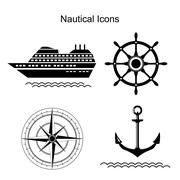 Nautical vector symbols Stock Illustration