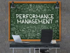 Chalkboard on the Office Wall with Performance Management - stock illustration