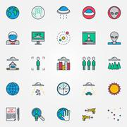 UFO and aliens flat icons Stock Illustration