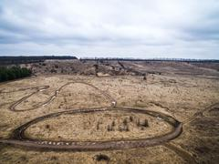 racing tracks and landscape from height - stock photo