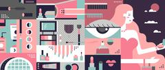 Cosmetic background abstract flat - stock illustration