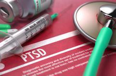 PTSD. Medical Concept on Red Background - stock illustration
