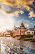 Central square in Kosice with tram rails after rain Stock Photos