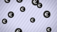 Falling euro icons. Looping. Alpha channel. Stock Footage