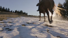 Cowboy on horse running into the sunset 2 Stock Footage